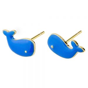 Stud Earring Whale Made With Enamel & Tin Alloy by JOE COOL