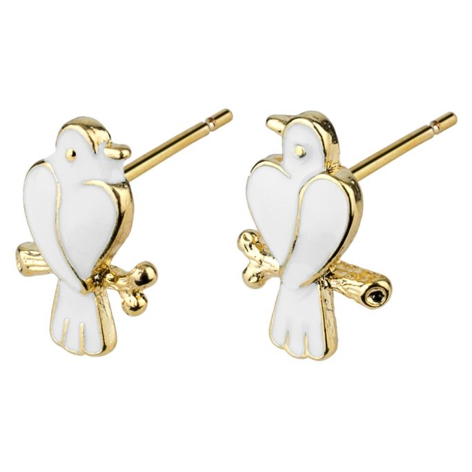 Stud Earring Love Birds Made With Enamel & Tin Alloy by JOE COOL