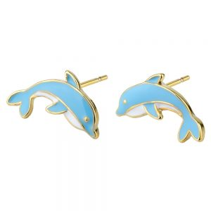 Stud Earring Dolphins Made With Enamel & Tin Alloy by JOE COOL