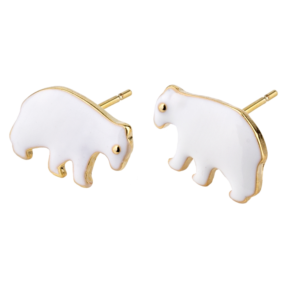 Stud Earring Bears Made With Enamel & Tin Alloy by JOE COOL