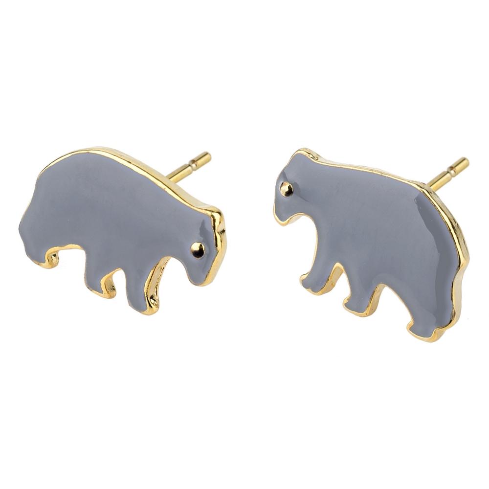Stud Earring Bears Made With Enamel & Tin Alloy by JOE COOL