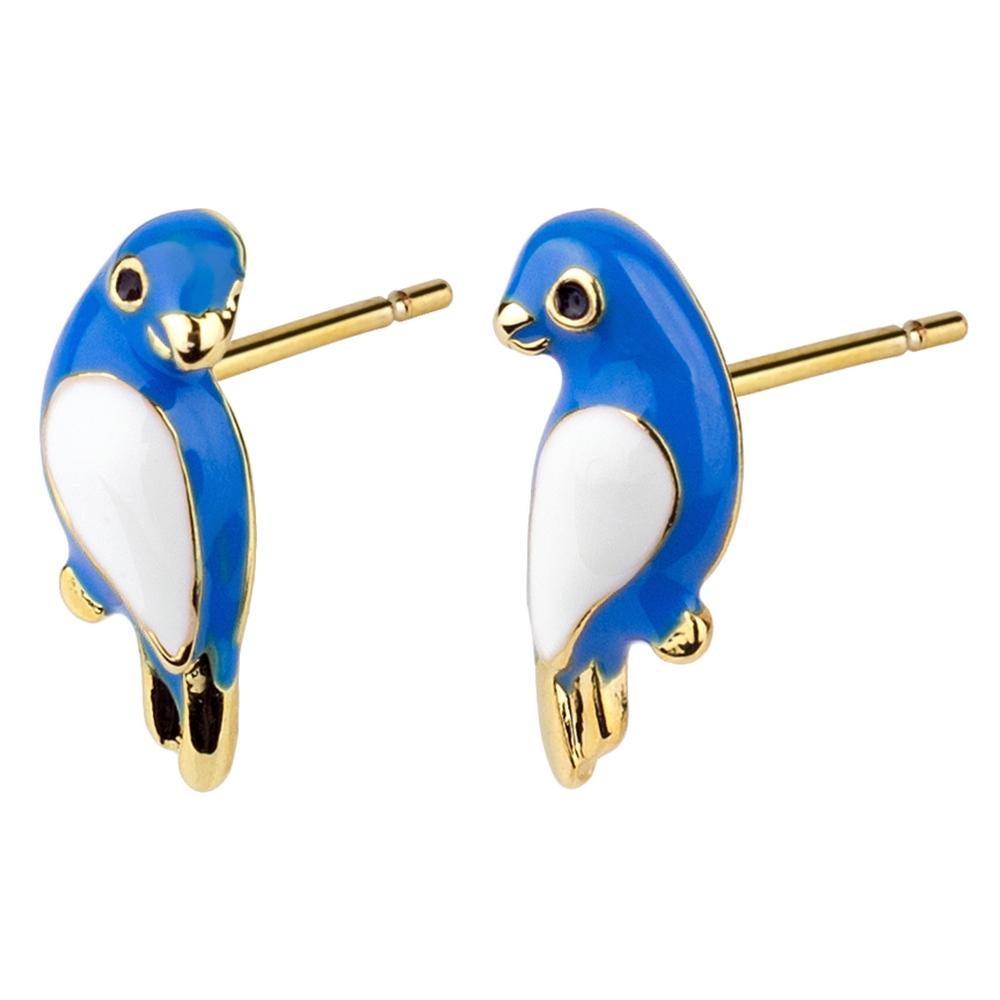 Stud Earring Bird Made With Enamel & Tin Alloy by JOE COOL