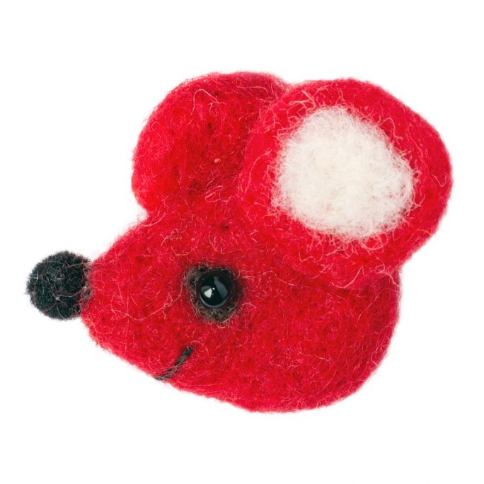 Clutch Pin Brooch Mouse Made With Felt by JOE COOL