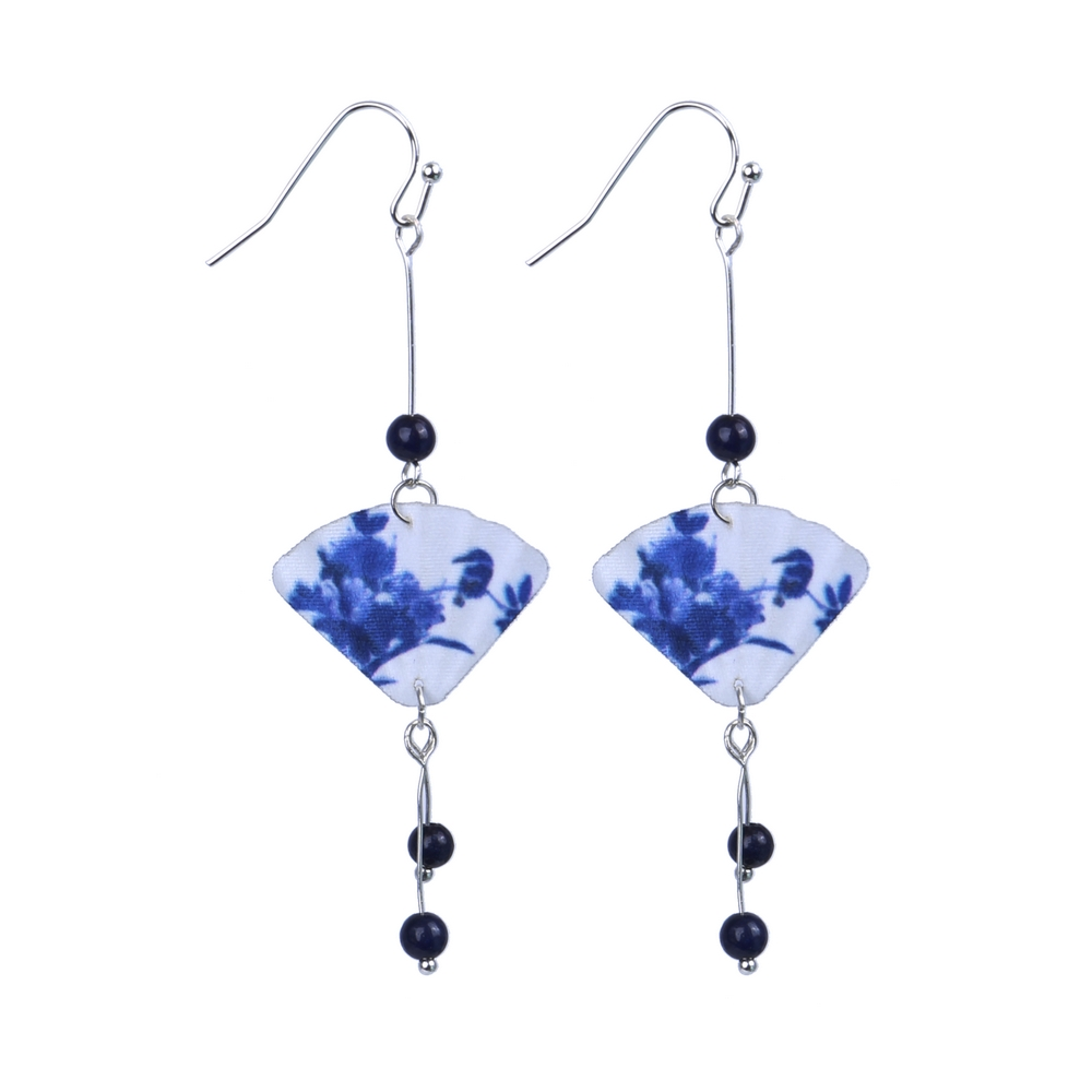 Drop Earring Bead Japanese Fan Made With Polyester & Gem Stone by JOE COOL