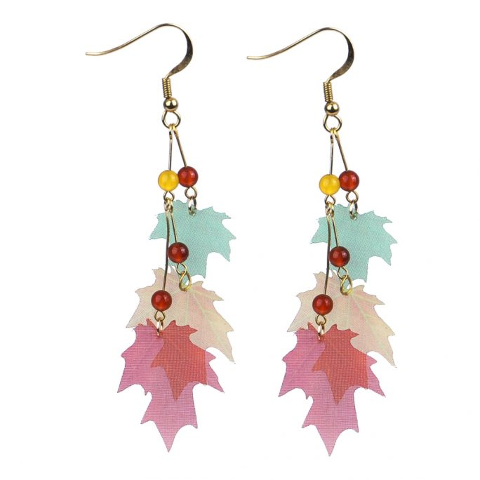 Drop Earring Falling Japenses Leaves Made With Organza & Gem Stone by JOE COOL