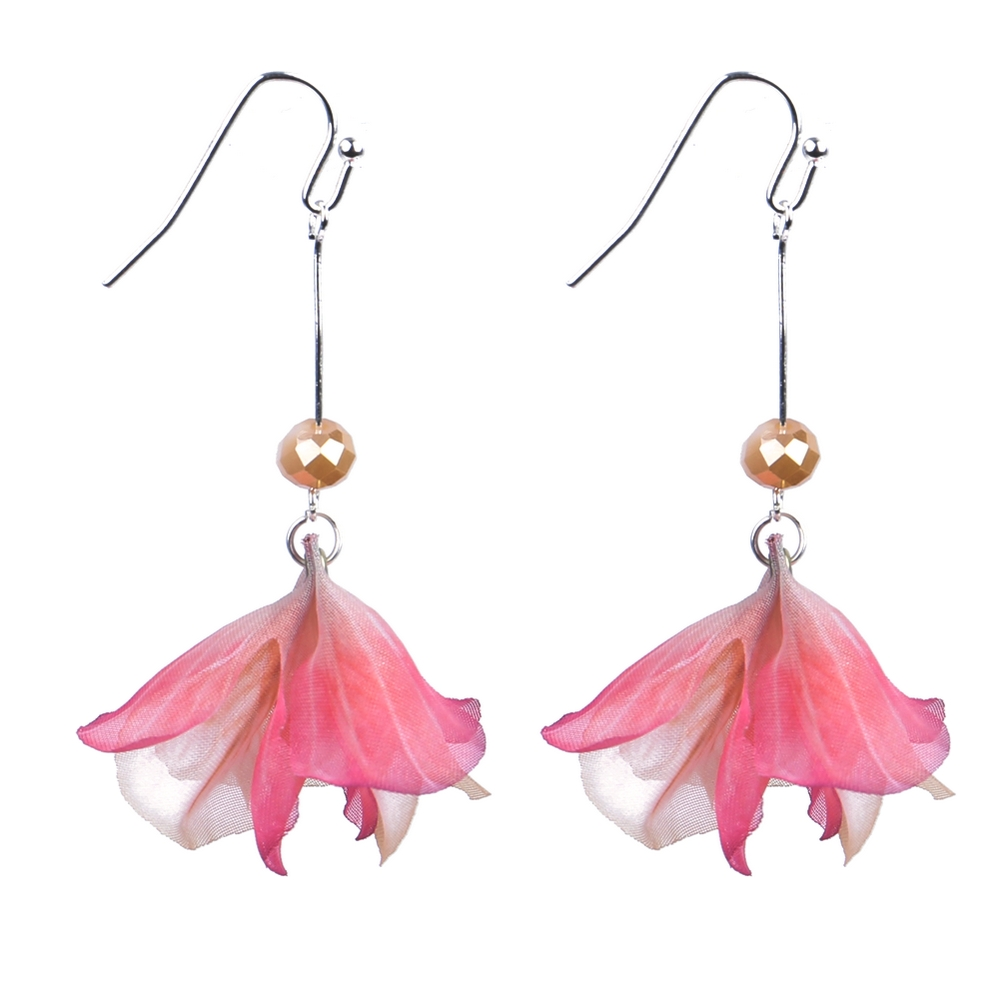 Drop Earring Japanese Bloom Made With Organza & Gem Stone by JOE COOL
