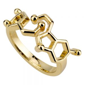 Ring Serotonin Molecule Made With Tin Alloy by JOE COOL