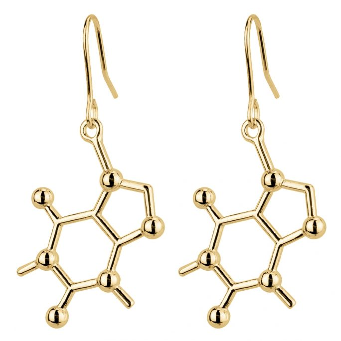 Drop Earring Caffeine Molecule Made With Tin Alloy by JOE COOL
