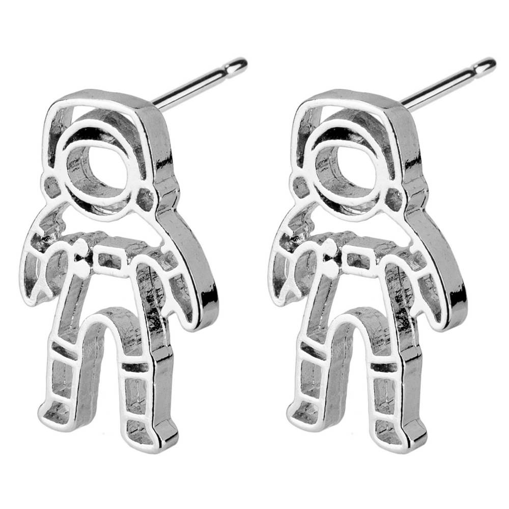 Stud Earring Astronaut Outline Made With Tin Alloy by JOE COOL