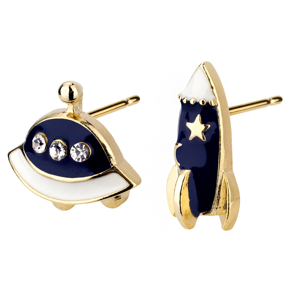 Stud Earring Rocket & Spaceship Made With Enamel & Crystal Glass by JOE COOL