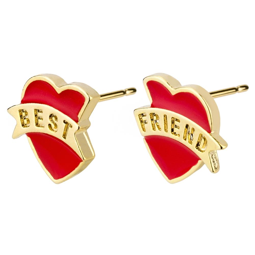 Stud Earring Best Friends Hearts Made With Enamel & Tin Alloy by JOE COOL