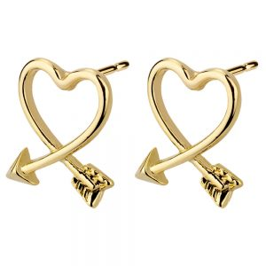 Stud Earring Cupids Heart Made With Enamel & Tin Alloy by JOE COOL