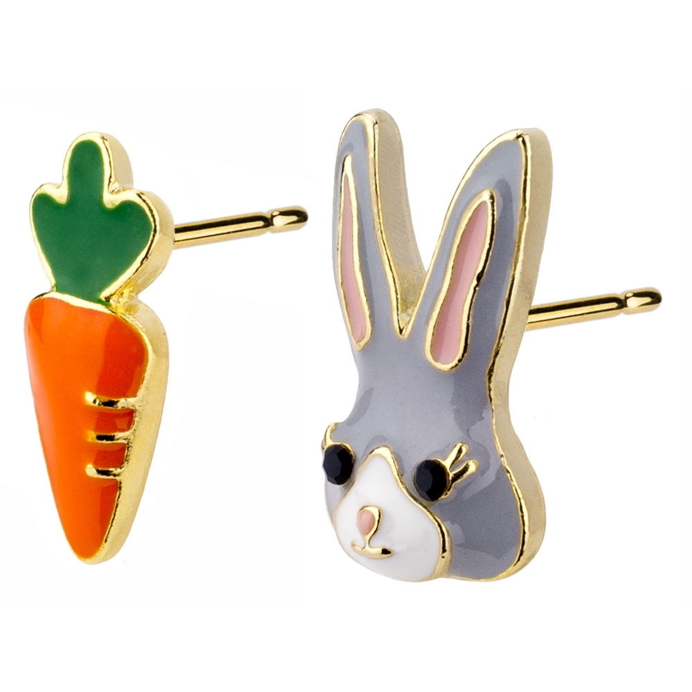 Stud Earring Rabbit & Bunny Made With Enamel & Tin Alloy by JOE COOL