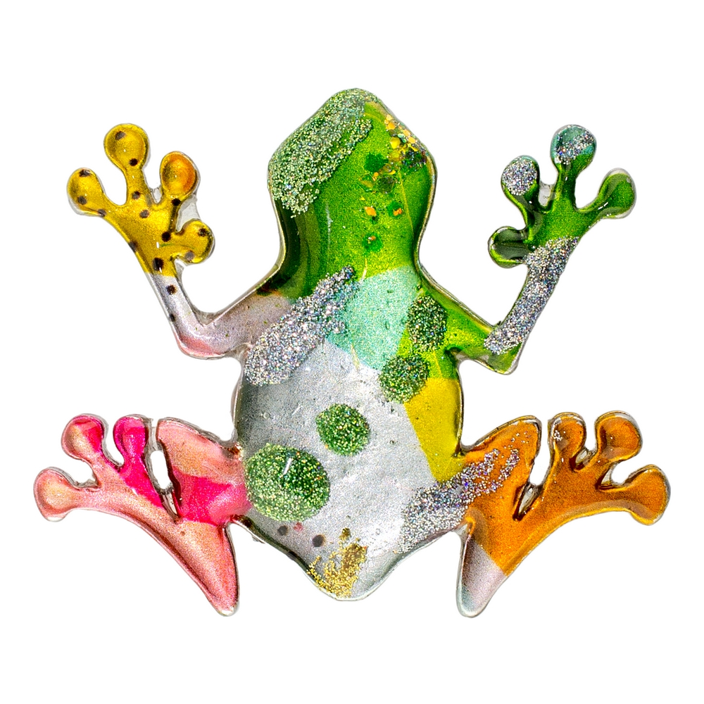 Brooch Vibrant Frog Made With Acrylic by JOE COOL
