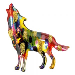 Brooch Vibrant Howling Wolf Made With Acrylic by JOE COOL