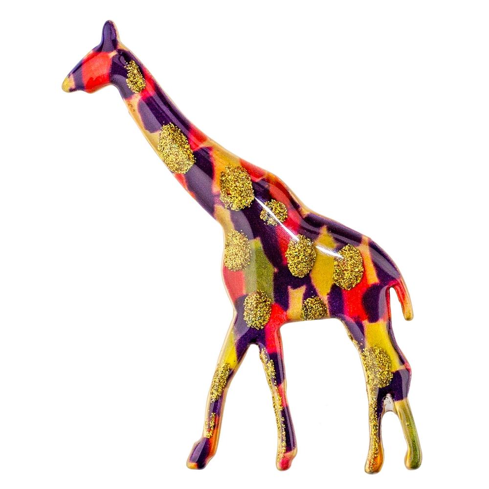 Brooch Vibrant Giraffe Made With Acrylic by JOE COOL