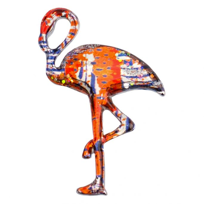 Brooch Vibrant Flamingo Made With Acrylic by JOE COOL