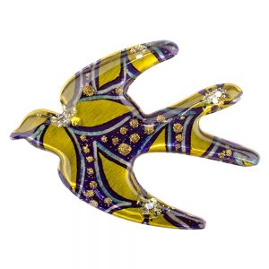Brooch Vibrant Swallow Made With Acrylic by JOE COOL