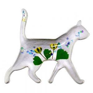 Brooch Flower Striding Cat Made With Acrylic by JOE COOL