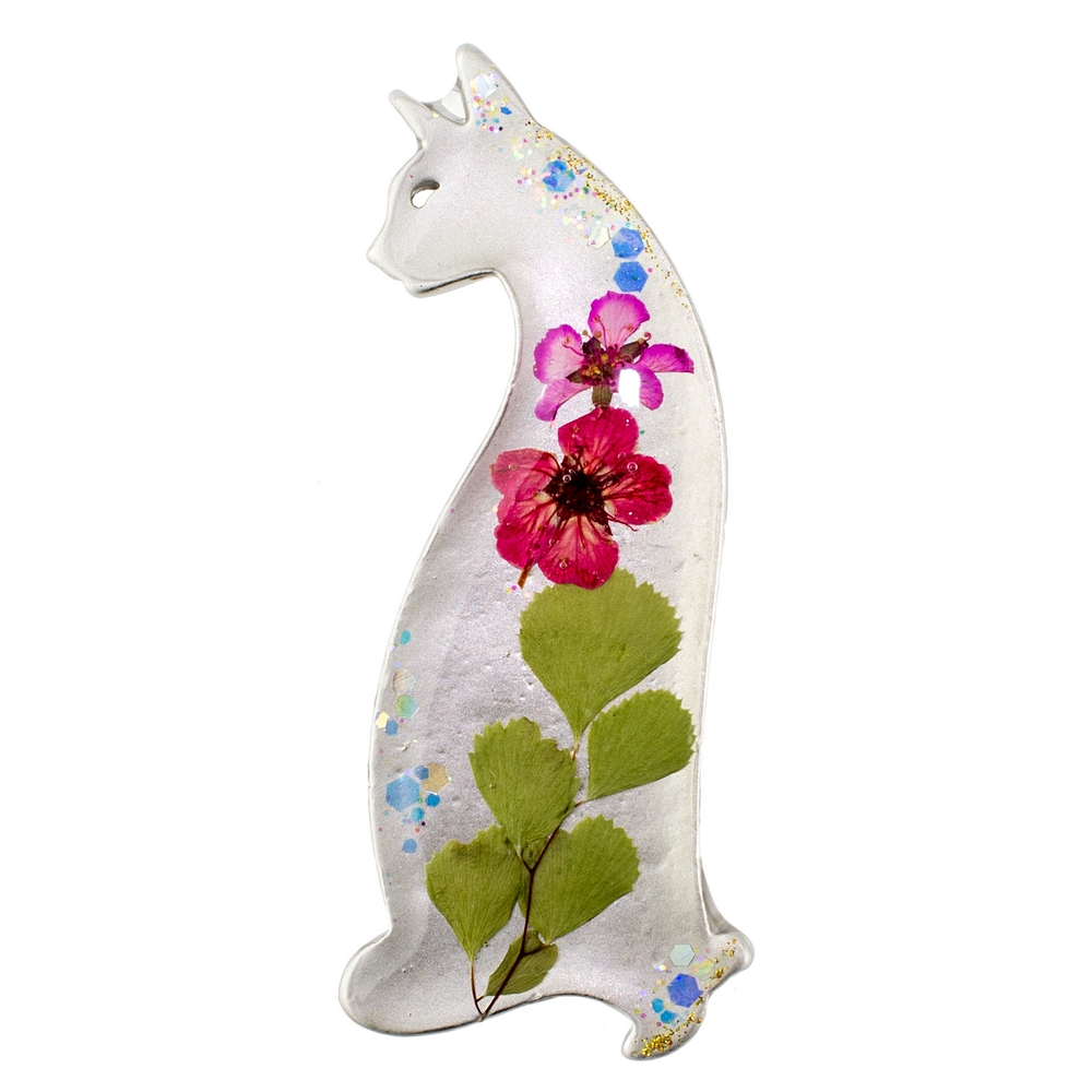 Brooch Flower Sitting Cat Made With Acrylic by JOE COOL