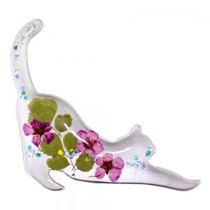 Brooch Flower Stretching Cat Made With Acrylic by JOE COOL