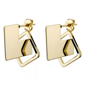 Drop Earring Illusion Square Made With Tin Alloy by JOE COOL