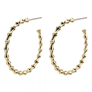 Hoop Earring Bamboo Effect Made With Tin Alloy by JOE COOL