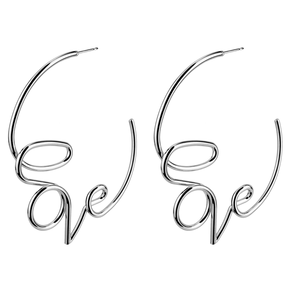Hoop Earring Love Note Made With Tin Alloy by JOE COOL