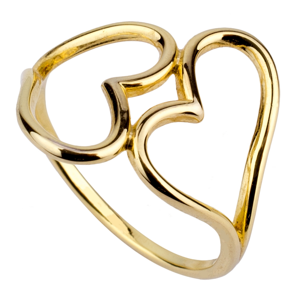 Ring Double Heart Outline Made With Brass by JOE COOL