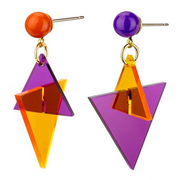 Drop Earring Bold Triangle Made With Acrylic by JOE COOL