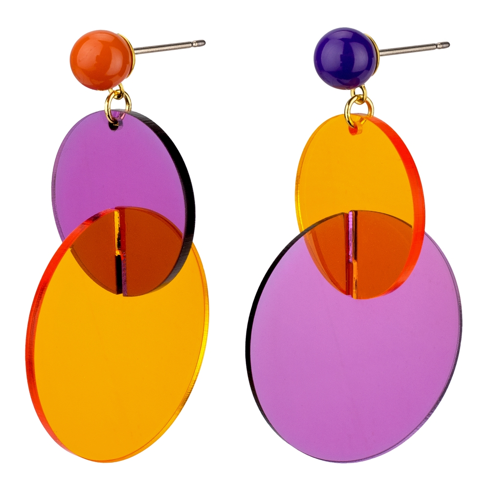 Drop Earring Bold Circle Made With Acrylic by JOE COOL