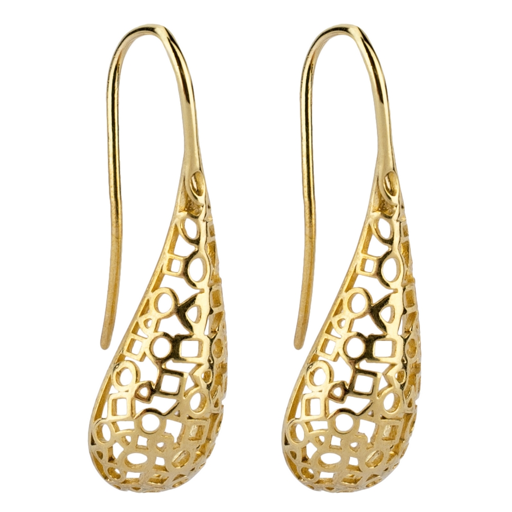 Hoop Earring Intricate Droplet Made With Brass by JOE COOL