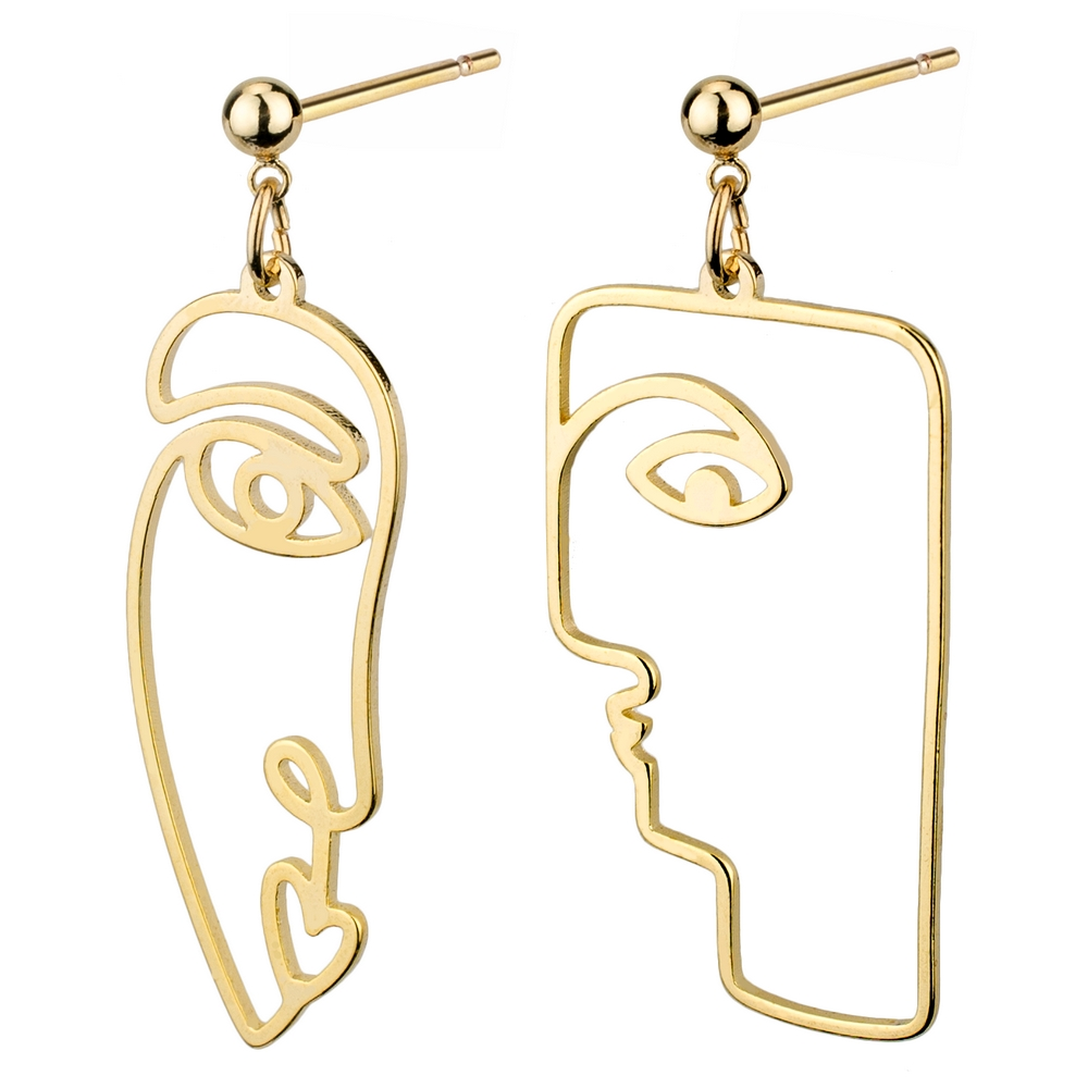 Stud & Drop Earring Line Art Portrait Made With Brass by JOE COOL