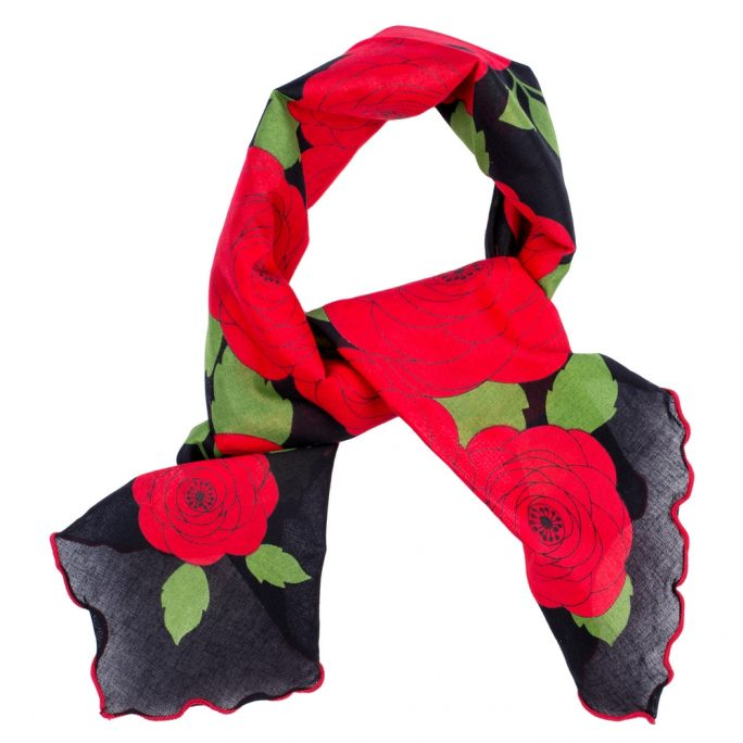 Scarf Kerchief Red Rose Made With Cotton by JOE COOL
