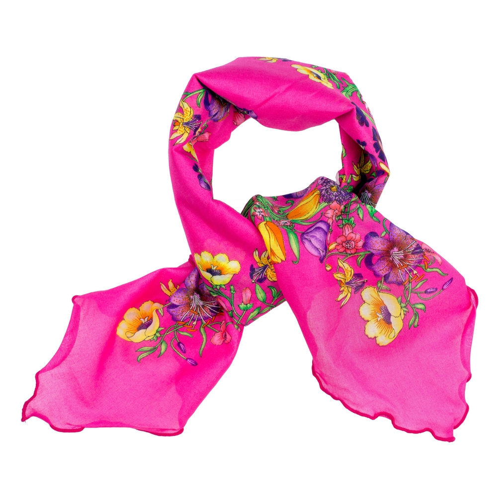 Scarf Kerchief Vibrant Flowers Made With Cotton by JOE COOL