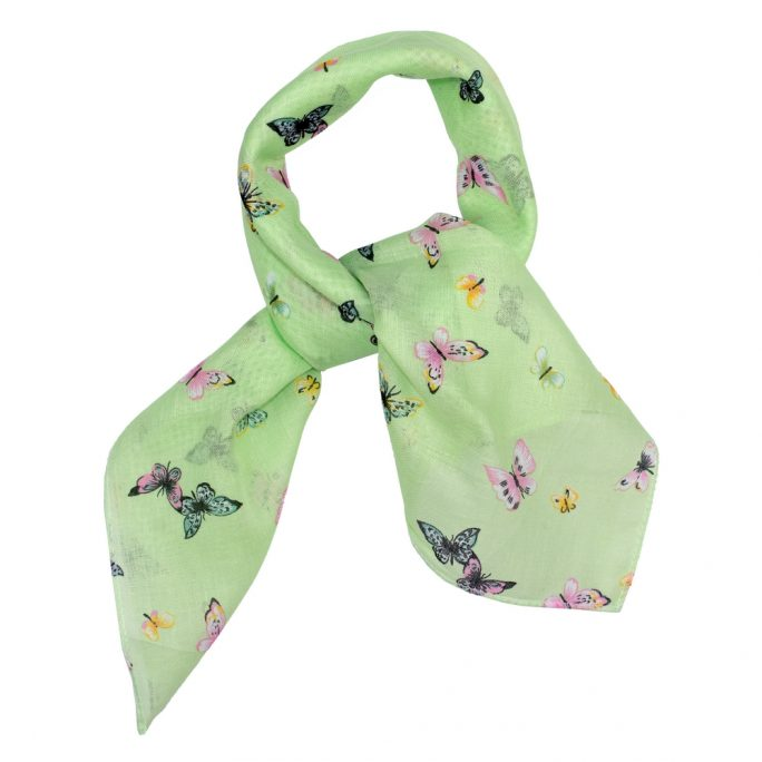 Scarf Kerchief Botanical Butterflies Made With Cotton by JOE COOL