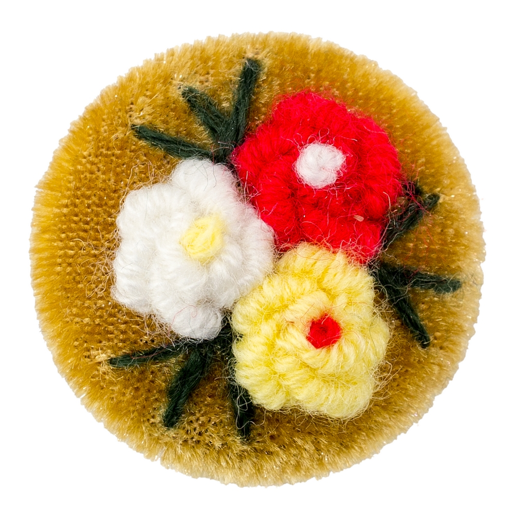 Brooch Embroidered Flowers Made With Velvet & Acrylic by JOE COOL