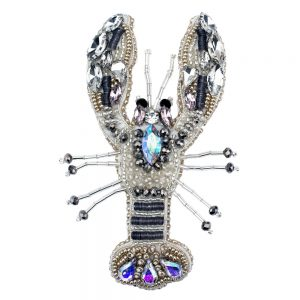 Brooch Bejewelled Lobster Made With Glass Beads by JOE COOL
