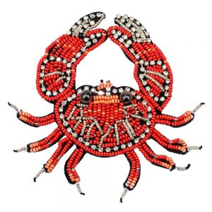Brooch Bejewelled Crab Made With Glass Beads by JOE COOL