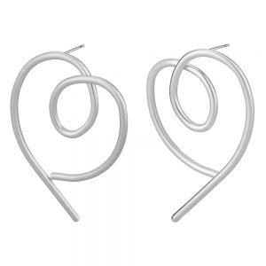 Stud Earring Line Art Heart Made With Tin Alloy by JOE COOL
