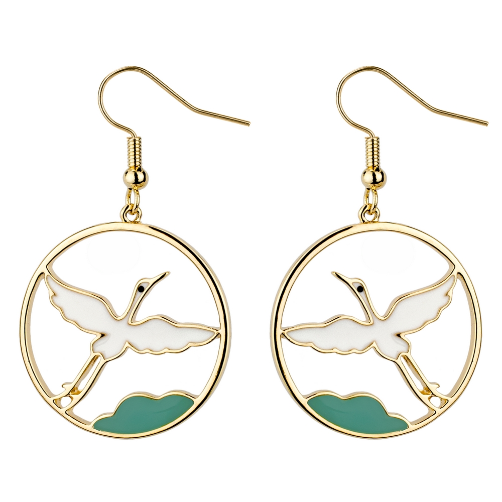 Drop Earring Elegant Flying Crane Made With Tin Alloy by JOE COOL
