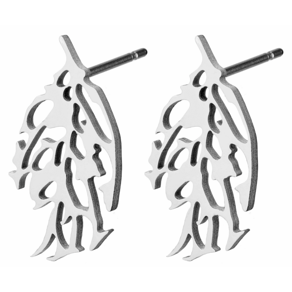 Stud Earring Skeletal Leaf Made With Tin Alloy by JOE COOL