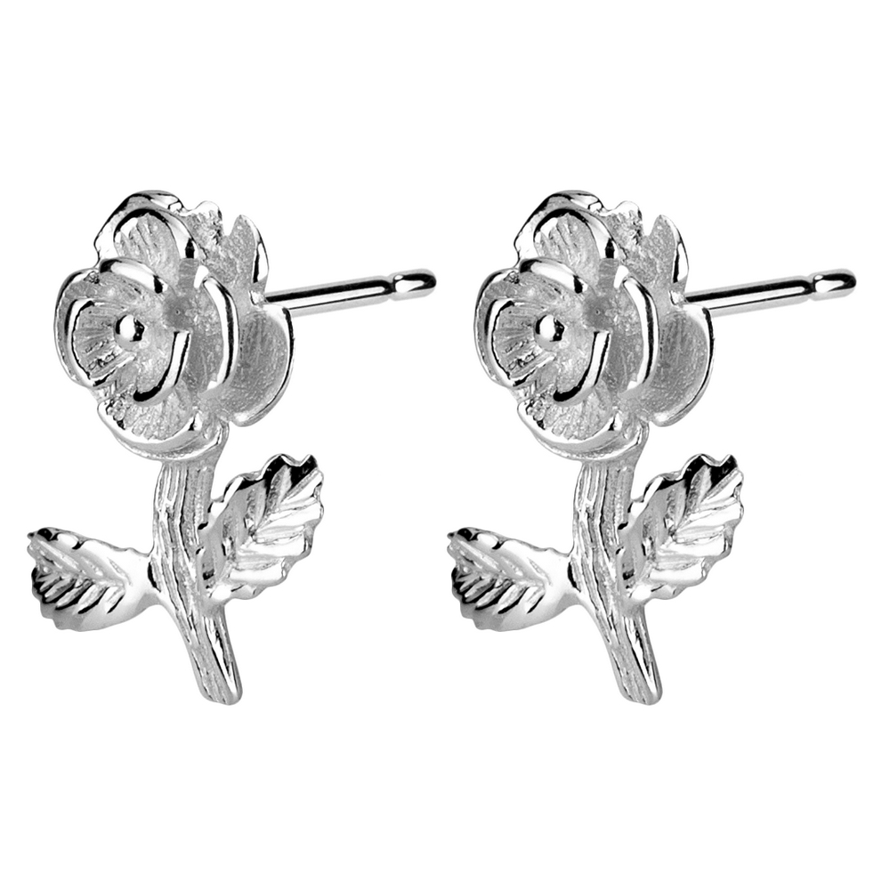Stud Earring Rose Flower Made With 925 Silver by JOE COOL