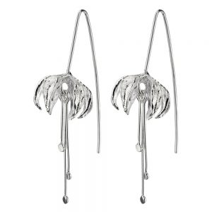 Stud Earring Suspended Fuchsia Stamen Made With 925 Silver by JOE COOL