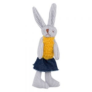 Brooch Striped Bunny Made With Cotton & Tin Alloy by JOE COOL