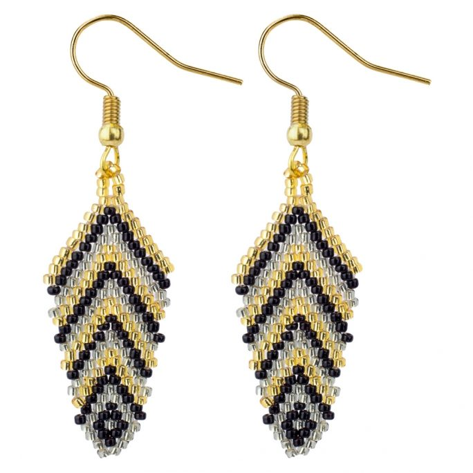 Drop Earring Feather Made With Glass Beads & Tin Alloy by JOE COOL