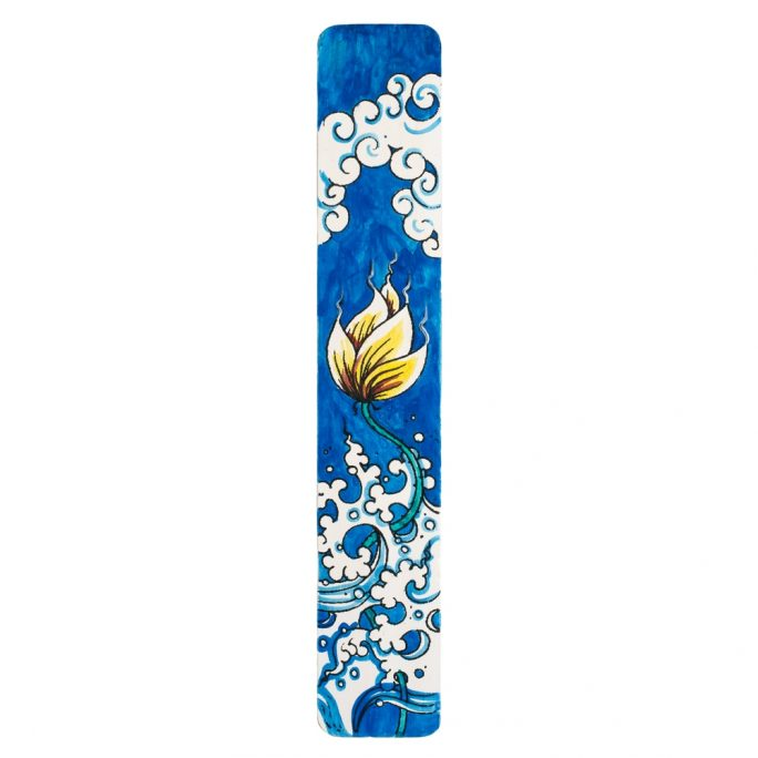 Gift Handpainted Bookmark Floral Wave Made With Bamboo by JOE COOL