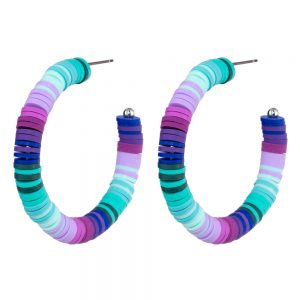 Hoop Earring Graduated Bead Thread Made With Fimo & Tin Alloy by JOE COOL