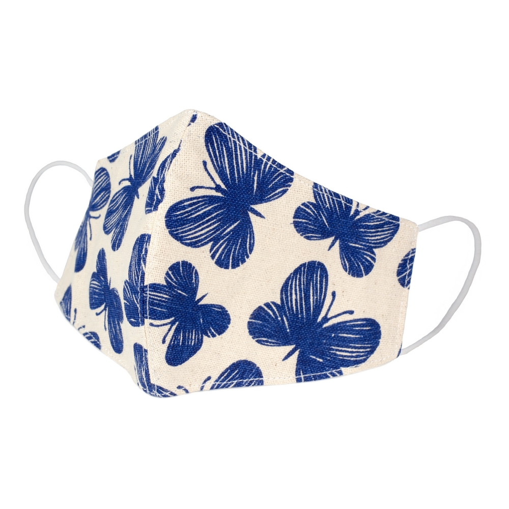 Face Mask Indigo Butterfly Made With Cotton by JOE COOL