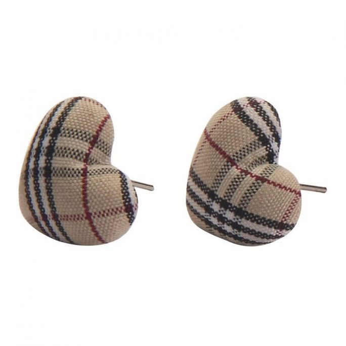 Stud Earring Tartan Heart Made With Polyester & Iron by JOE COOL